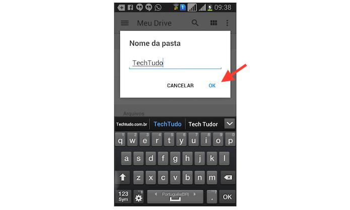 Criando uma nova pasta no Google Drive para Android (Foto: Reprodução/Marvin Costa)