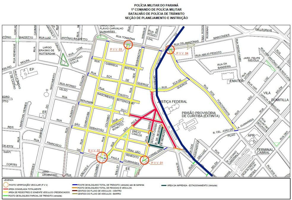 Mapa mostra áreas que serão bloqueadas no dia da audiência (Foto: Divulgação/Polícia Militar)