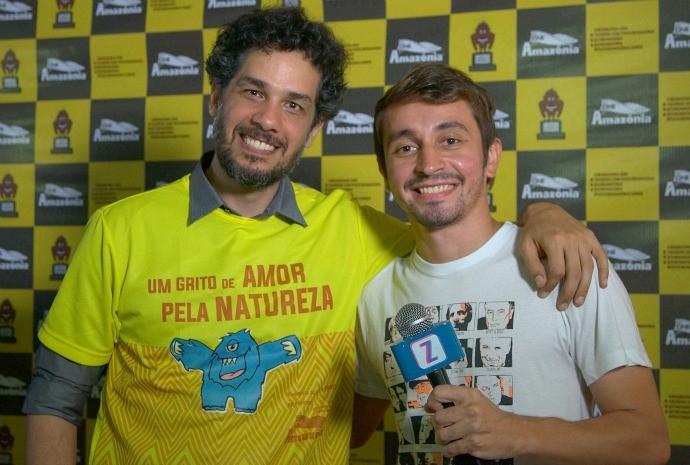 Rodrigo Lima, apresentador do FestCine Amazônia, com Moacyr Massulo (Foto: Arquivo Pessoal)