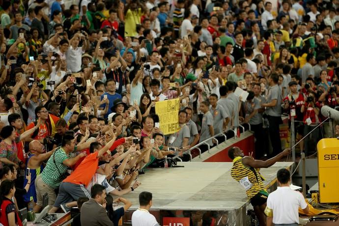 O selfie de Usain Bolt Mundial 200m pequim (Foto: Getty Images)