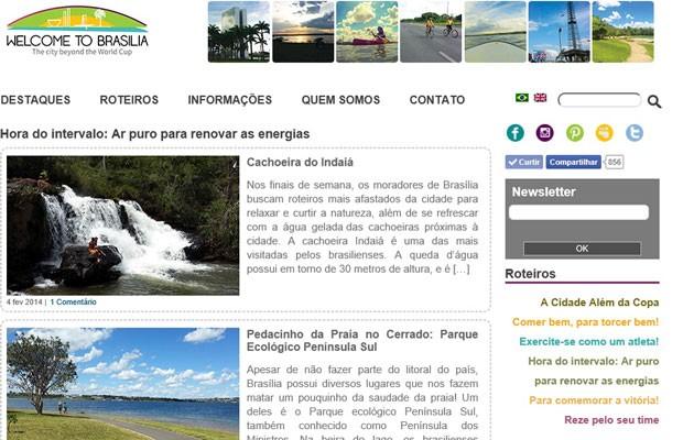 Tela inicial do blog Welcome to Brasília, criado pela publicitária Claudia Costa como projeto de fim de curso (Foto: Reprodução)