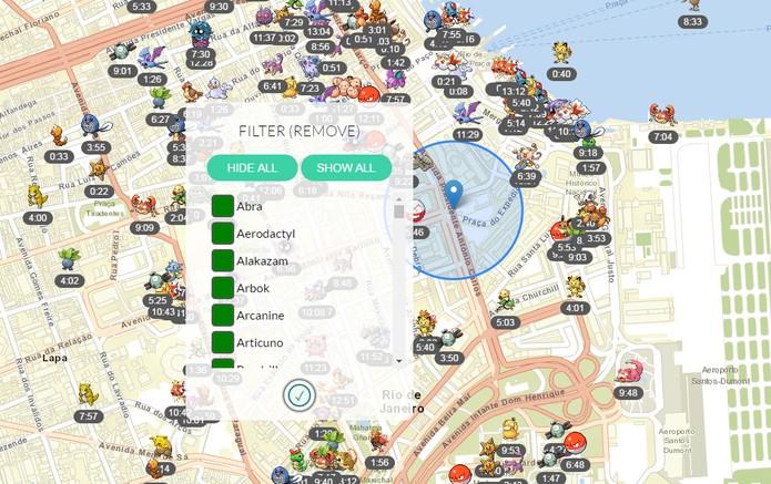 FastPokeMap mostra onde os Pokémon estão e por quanto tempo continuarão lá (Foto: Reprodução/FastPokeMap)
