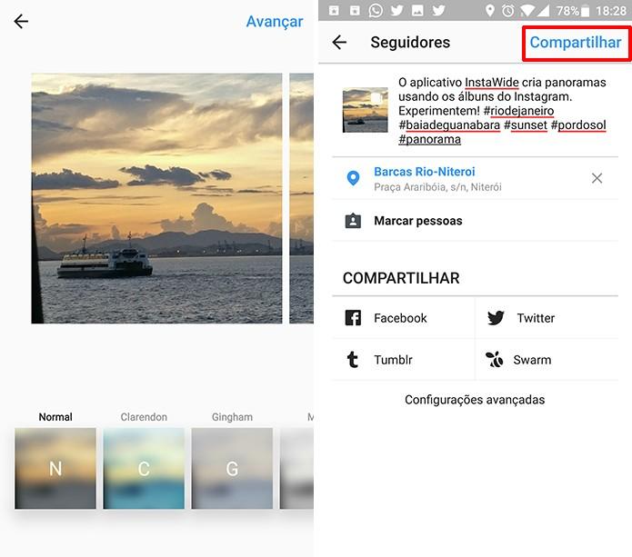 Edite o panorama no Instagram normalmente com filtros e legendas (Foto: Reprodução/Elson de Souza)