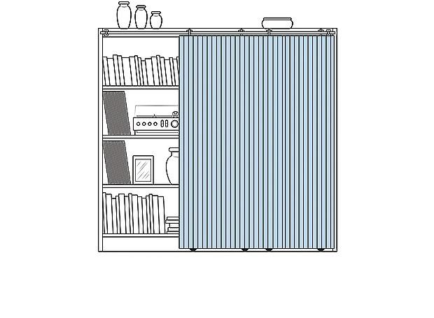 Solução para esconder a bagunça: painel de correr em frente à estante (Foto: Ilustração: Evandro Bertol)