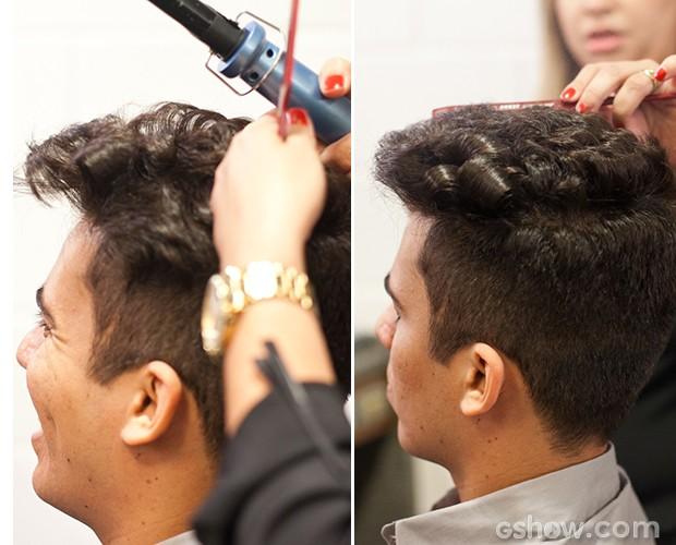 luan preparando cabelo (Foto: Dafne Bastos/ TV Globo)