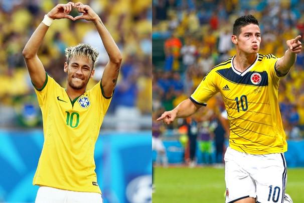 Neymar e James são os artilheiros de Brasil e Colômbia, que se enfrentam na sexta, às 17h (Foto: globoesporte.com)