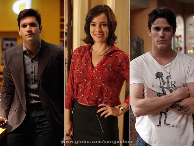 Armando Babaioff, Regiane Alves e Rômulo Neto vivem triângulo bafônico! (Foto: Sangue Bom/TV Globo)