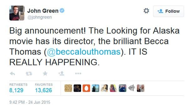 John Green anuncia Rebecca Thomas como diretora de 'Quem é você, Alasca?' (Foto: Reprodução/Twitter)