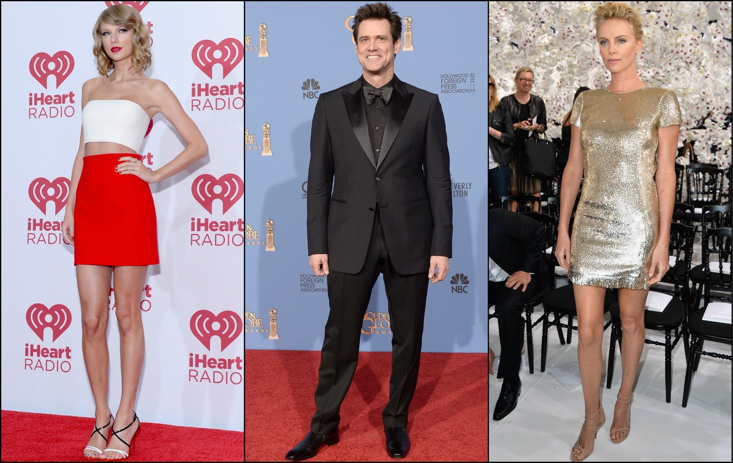 Taylor Swift (à esq.), Jim Carrey e Charlize Theron vivem nas alturas! (Foto: Getty Images)