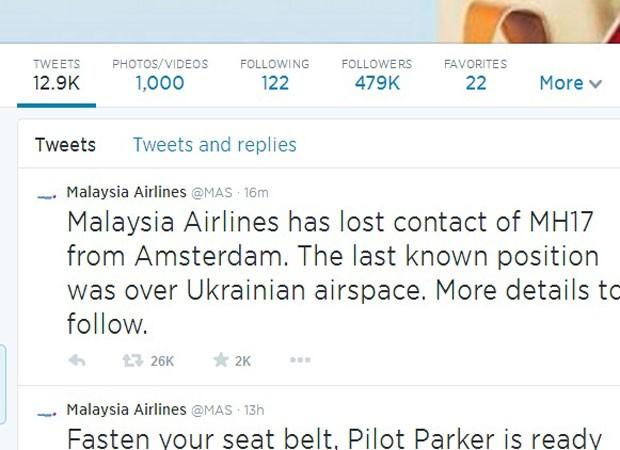 Twitter Malaysia Airlines (Foto: Reprodução)