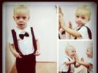 Fofo! Neymar posta foto do filho de gravata borboleta