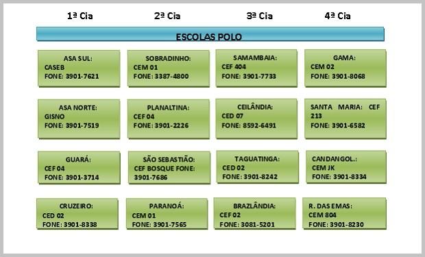Endereços e contato das escolas polo do Batalhão Escolar do Distrito Federal (Foto: Polícia Militar/Reprodução)