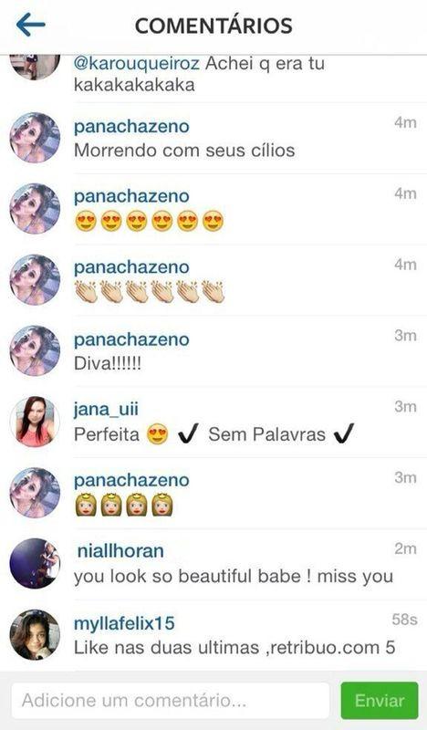Comentário Niall Horan foto Anitta (Foto: Reprodução/Instagram)
