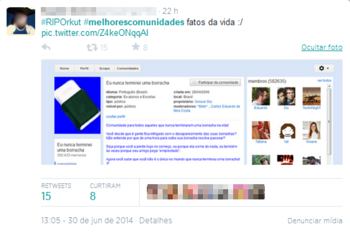 Usuários do microblog relembram as melhores comunidades do Orkut (Foto: Reprodução/Twitter)