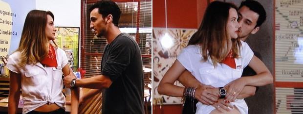 Sem noção nenhuma, Sal vai agarrando Fatinha quando Bruno aparece... (Foto: Malhação / TV Globo)