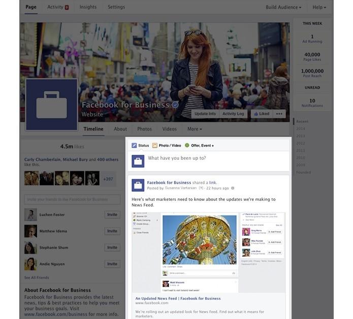 Novo design da página, anunciado pelo Facebook (Reprodução/Facebook)