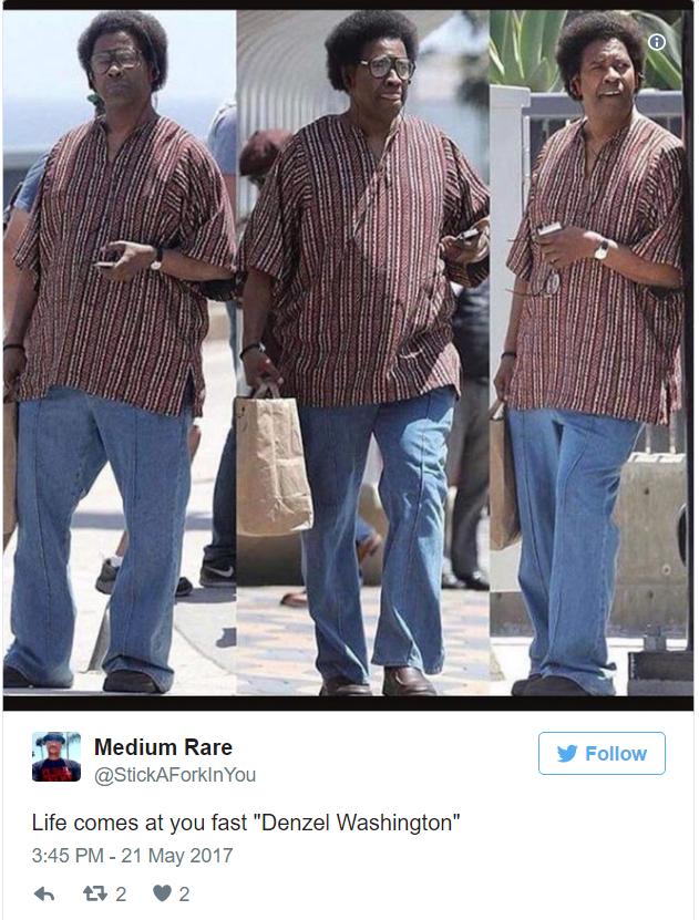 Fã brinca com novo look de Denzel Washington (Foto: Reprodução)
