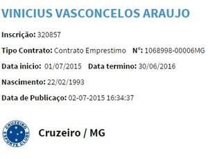 Nome de Vinícius Araújo foi publicado no BID, nesta quinta (Foto: Reprodução/ Internet)