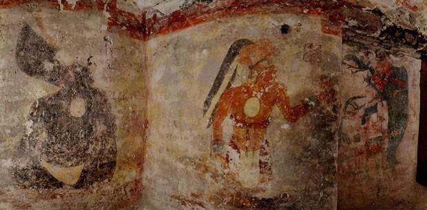 Desenhos encontrados nas paredes de Xultún (Foto: Tyrone Turner/National Geographic/Divulgação)