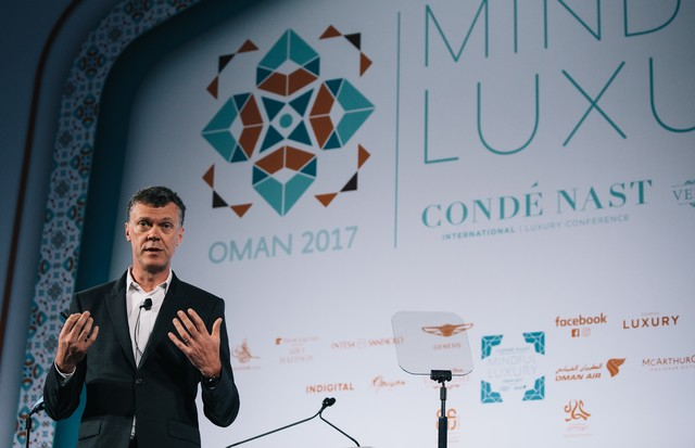 CEO Pierre Denis talking at the Conde Nast International Luxury Conference in Oman April 2017  (Foto: CNI Luxury Conference)