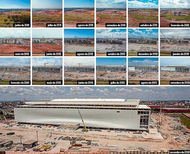 SURGE UMA ARENA Momentos da obra de construção do estádio do Itaquerão. A arena vem sendo erguida há dois anos e meio (Foto: Marcos Camargo)