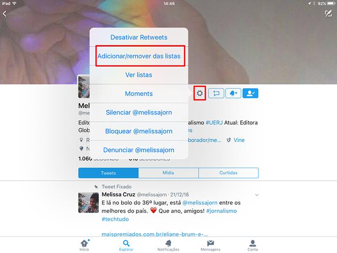 É possível adicionar usuário às listas do Twitter a partir do perfil (Foto: Reprodução/Elson de Souza) (Foto: É possível adicionar usuário às listas do Twitter a partir do perfil (Foto: Reprodução/Elson de Souza))