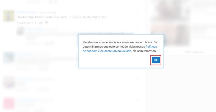 YouTube confirmará denúncia e fará avaliação do comentário (Foto: Reprodução/Elson de Souza)