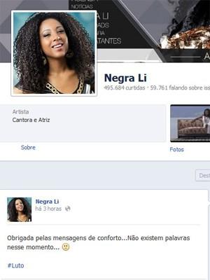 Cantora agradeceu apoio pelo Facebook (Foto: Reprodução/Facebook)