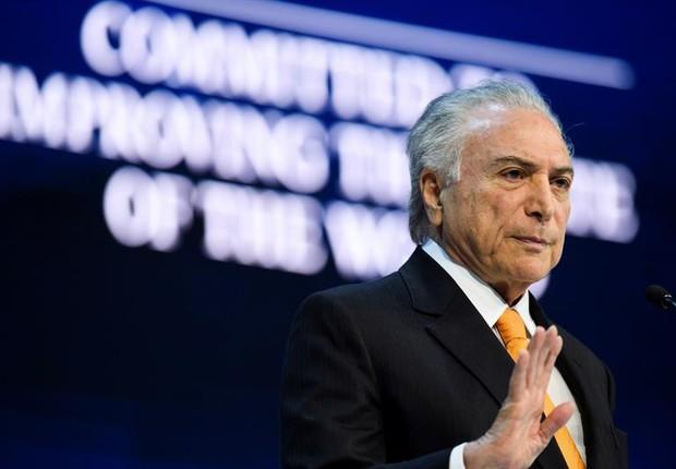 Michel Temer em discurso durante o Fórum Econômico Mundial, em Davos (Foto: EFE/ Gian Ehrenzeller)