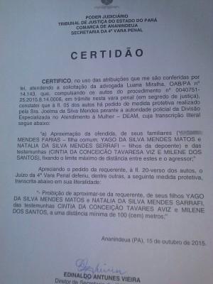 Certidão comprova que Chimbinha está impedido de se aproximar dos filhos Yago e Natalia (Foto: Divulgação / Ascom Chimbinha)