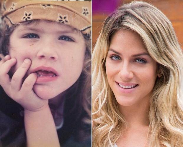 Giovanna Ewbank na infância e hoje: mudou muito? (Foto: Arquivo Pessoal e Raphael Dias / TV Globo)