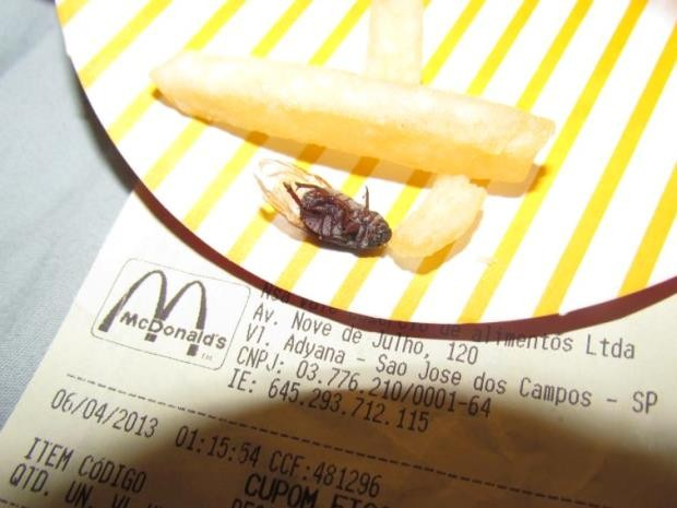 Segundo jovem, mosca foi encontrada no fundo do pacote de batatas fritas vendida no restaurante do centro da cidade. (Foto: Arquivo Pessoal/Rafaell Villard)