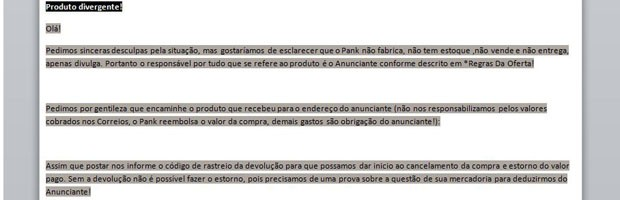 Cartilha orienta funcionário a informar clientes que o site Pank é apenas intermediário da negociação (Foto: Reprodução)