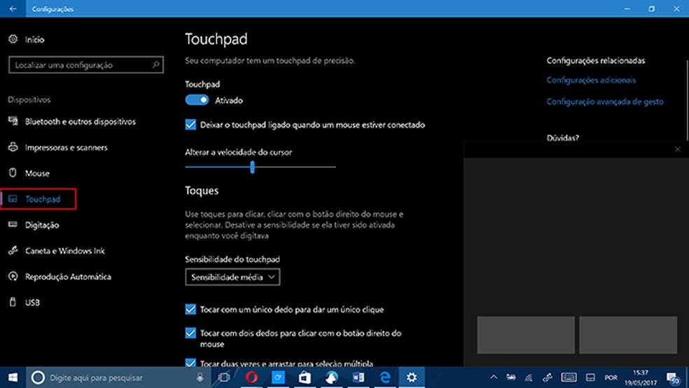 Windows 10 traz guia para configuração de touchpad no sistema (Foto: Reprodução/Elson de Souza)