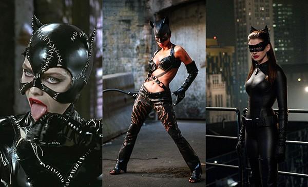 Michelle Pfeiffer em Batman: O Retorno (1992), Halle Berry em Mulher-Gato (2004), Anne Hathaway em Batman: O Cavaleiro das Trevas Ressurge (2012) (Foto: Divulgação)