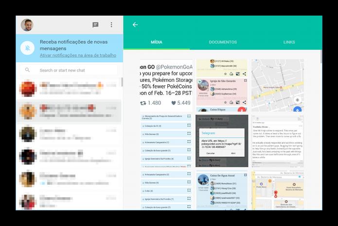 Links, documentos e m�dias agora s�o separados por abas na vers�o web (Foto: Felipe Alencar/TechTudo)