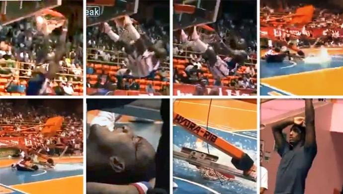 FRAME jogador derruba cesta de basquete  (Foto: Reprodução)