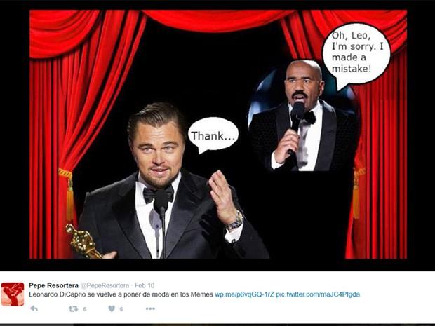 Internautas brincam com vitória de Leonardo DiCaprio no Oscar (Foto: Reprodução / Twitter)
