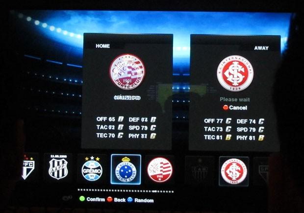 Tela de seleção de equipes mostra algumas do Brasil que estão no jogo  (Foto: Gustavo Petró/G1)