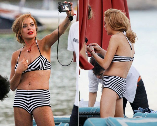 Lindsay Lohan na Grécia em 2015 (Foto: The Grosby Group)