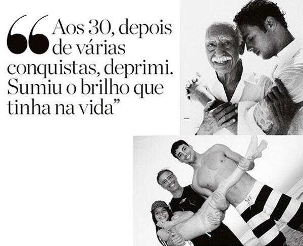 O ator com o avô, Carlos Marques de Souza. Abaixo, com o pai, José Marques, e a irmã Lara (Foto: Arquivo pessoal)