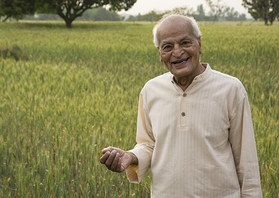 Satish Kumar em um campo de cereal no norte da Índia não esconde sua reverência pela natureza (Foto: © Haroldo Castro/ÉPOCA)