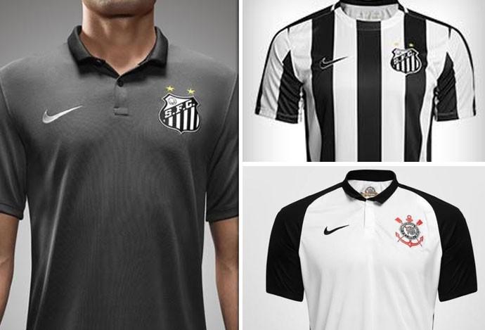 Montagem Camisa Corinthians X Santos (Foto: Editoria de Arte)
