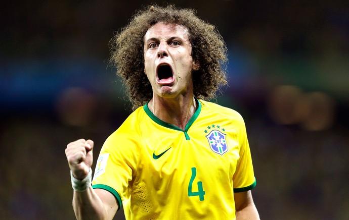 David Luiz comemoração Brasil (Foto: AP)