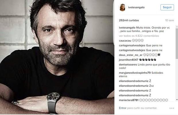 Post de Ivete Sangalo em homenagem a Domingos Montagner, no dia da morte do ator, em 15 de setembro, teve 292 mil curtidas (Foto: Reprodução/Instagram)
