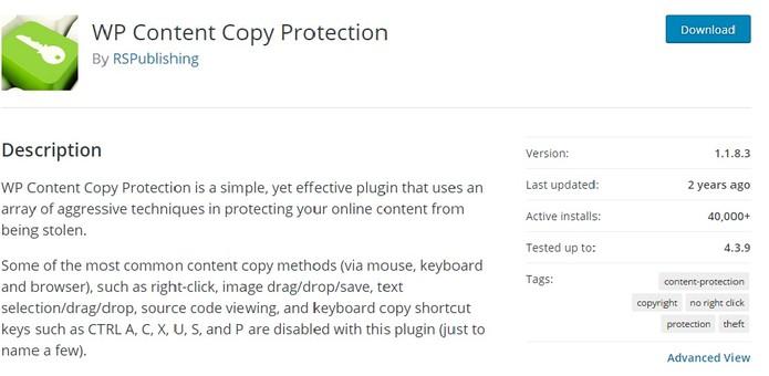 WP Content Copy Protection (Foto: Reprodução/Carolina Ochsendorf)