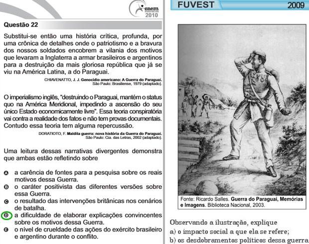 Enem de 2010 e segunda fase da Fuvest de 2009 tinham questões sobre a Guerra do Paraguai (Foto: Reprodução/Inep/Fuvest)