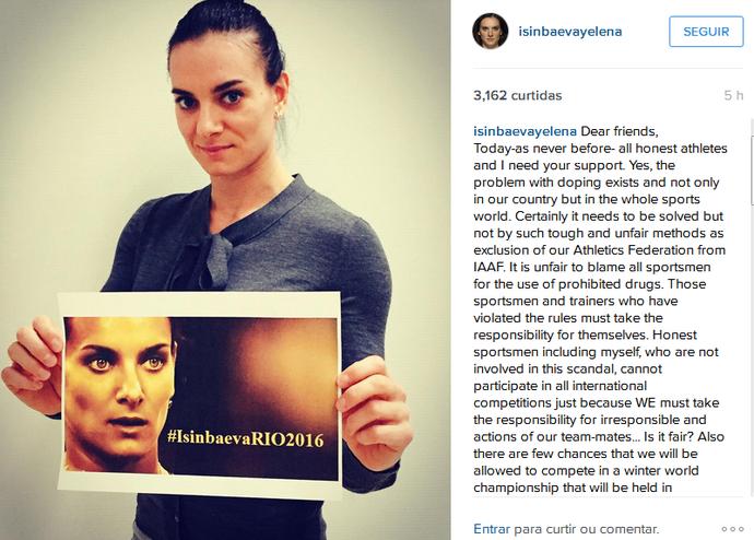 Yelena Isinbayeva faz campanha por Rio 2016 atletismo (Foto: Reprodução / Instagram)