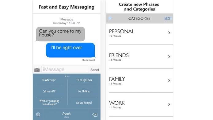 Teclado Phraseboard envia frases pré-definidas para contatos (Foto: Divulgação)