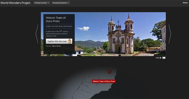 A cidade de Ouro Preto (MG) está presente no projeto do Google chamado World Wonders Project (Foto: Reprodução)